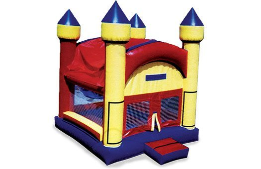 red, yellow. and blue bounce house