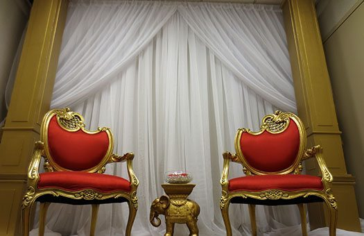 Gold Arch with Wedding Drape