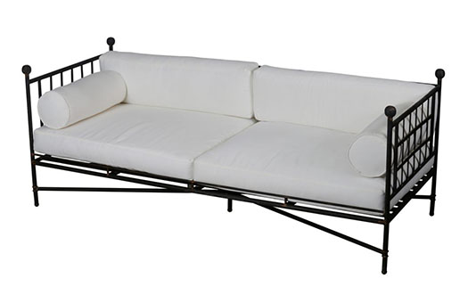 Wrought iron and white daybed great for weddings corporate events and more