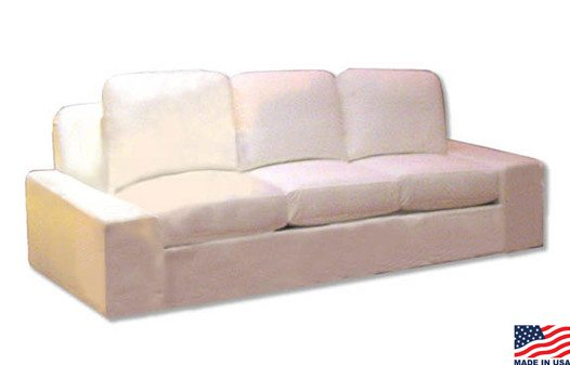 White sofa with large short arms and large pillows great for corporate events and more
