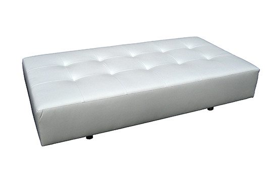 White sofa bench with round legs great for corporate events and more