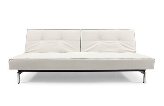 white sofa with folding back and stainless steel legs