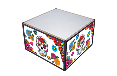 Aluminum Coffee table with aluminum frame, white acrylic top, and colorful day of the dead themed panels