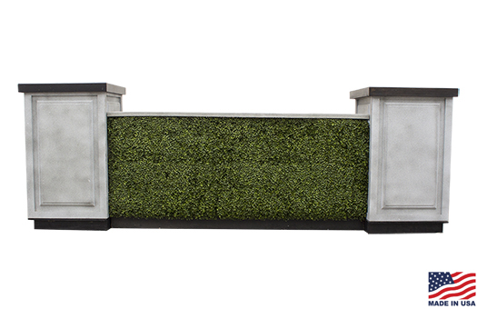 8 foot boxwood hedge granite bar fronts with granite countertops and granite pedestals in a square configuration