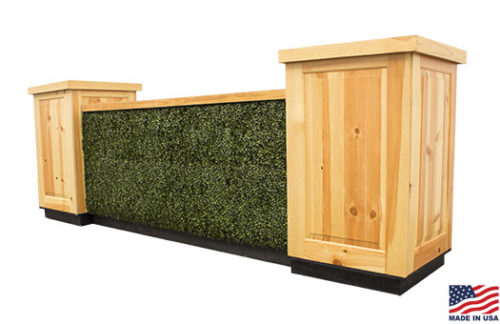 8 foot boxwood hedge pine bar fronts with pine countertops and knotty pine pedestals in a square configuration