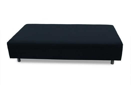 Black sofa bench with round legs great for corporate events and more