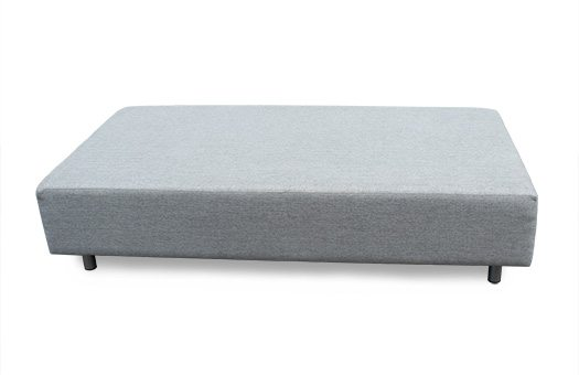 Grey sofa bench with round legs great for corporate events and more