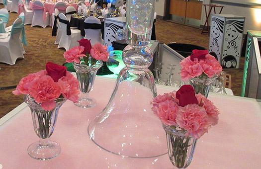 centerpiece ice cream sundae glass carnations rose cherry sock hop large