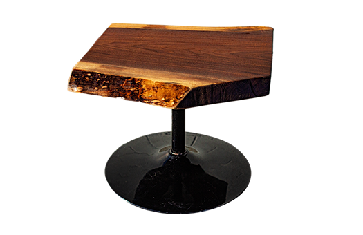 Walnut Live Edge End Table with Black aluminum stem and circular base