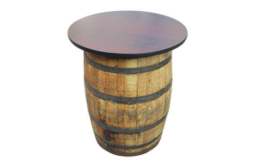 Barrel High Boy Table with rustic wine barrel and stained mahogany round table top perfect for special events