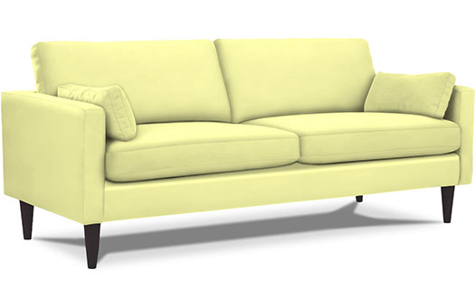Mid century yellow sofa great for corporate events and more