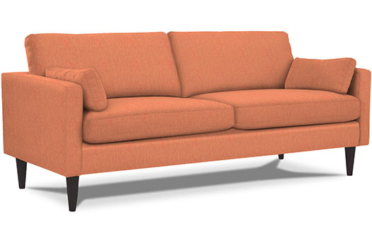 Mid century orange sofa great for corporate events and more