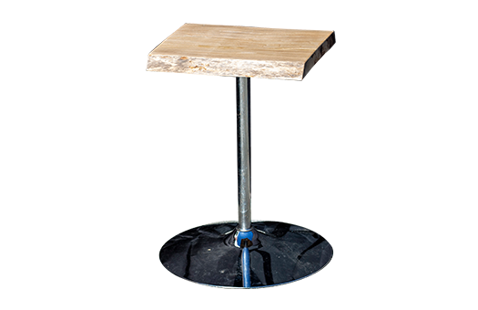 Sycamore live edge cafe table with sycamore top, aluminum post and circular base.