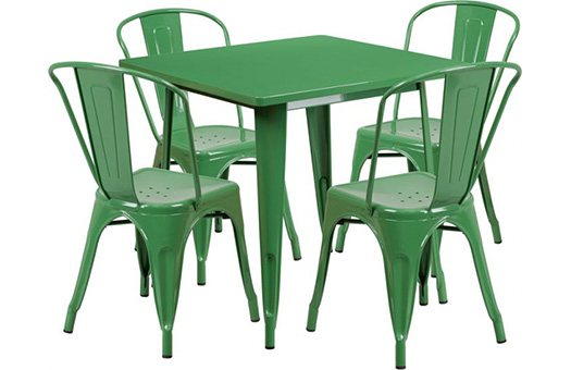 tables green metal indoor outdoor table set with 4 stack chairs large