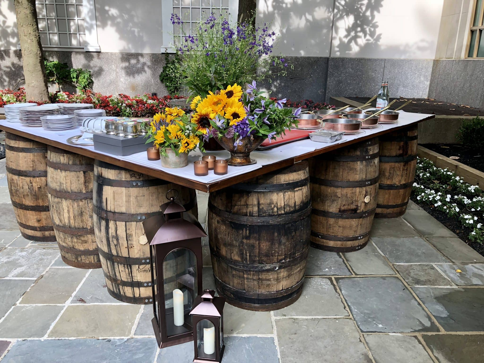 Wine barrel bar great for rustic wedding